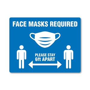 Face Masks and Social Distancing Sign